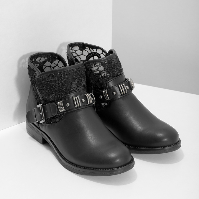 Čierne čižmy s čipkou bata, čierna, 591-6628 - 26