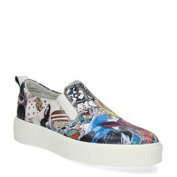 Kožená dámska Slip-on obuv s potlačou bata, šedá, 536-2608 - 13