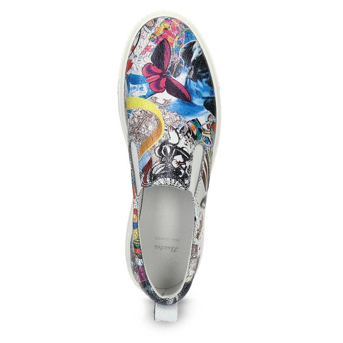 Kožená dámska Slip-on obuv s potlačou bata, šedá, 536-2608 - 17