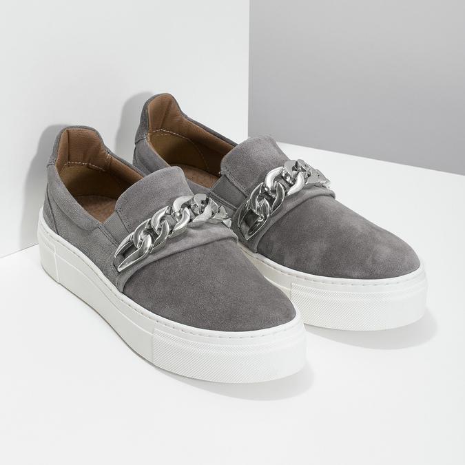 Dámske Slip-on s kovovou prackou bata, šedá, 513-2600 - 26