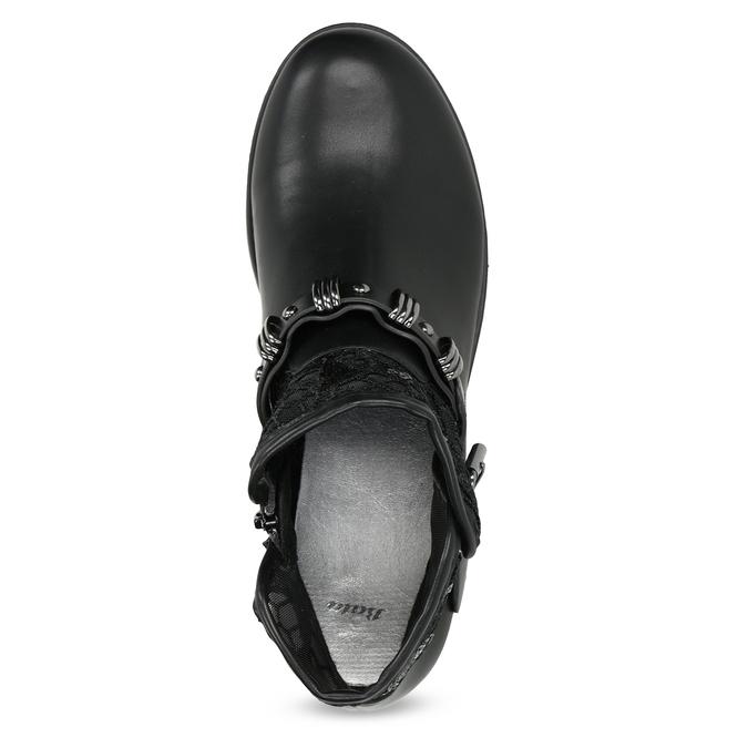 Čierne čižmy s čipkou bata, čierna, 591-6628 - 17
