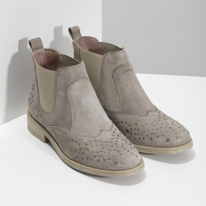 Kožené členkové topánky s kovovou aplikáciou bata, šedá, 596-2690 - 26