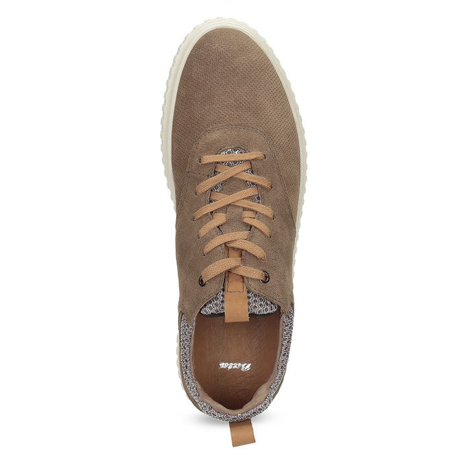 Ležérne tenisky z brúsenej kože bata, hnedá, 843-4637 - 17