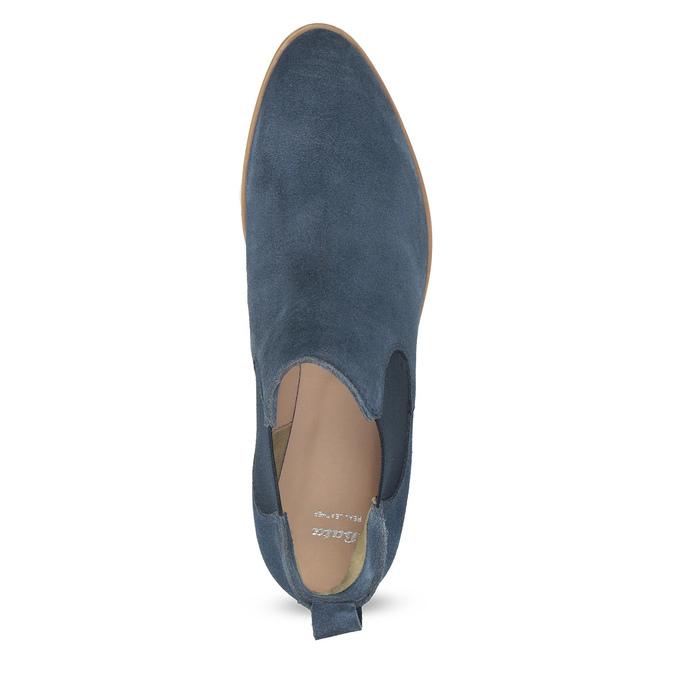 Modré kožené Chelsea čižmy bata, modrá, 593-9614 - 17