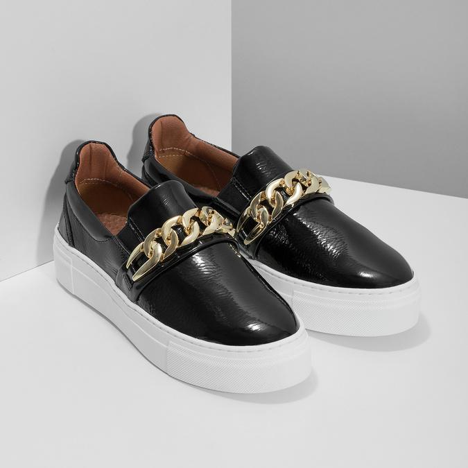Kožená Slip-on obuv na flatforme bata, čierna, 518-6601 - 26