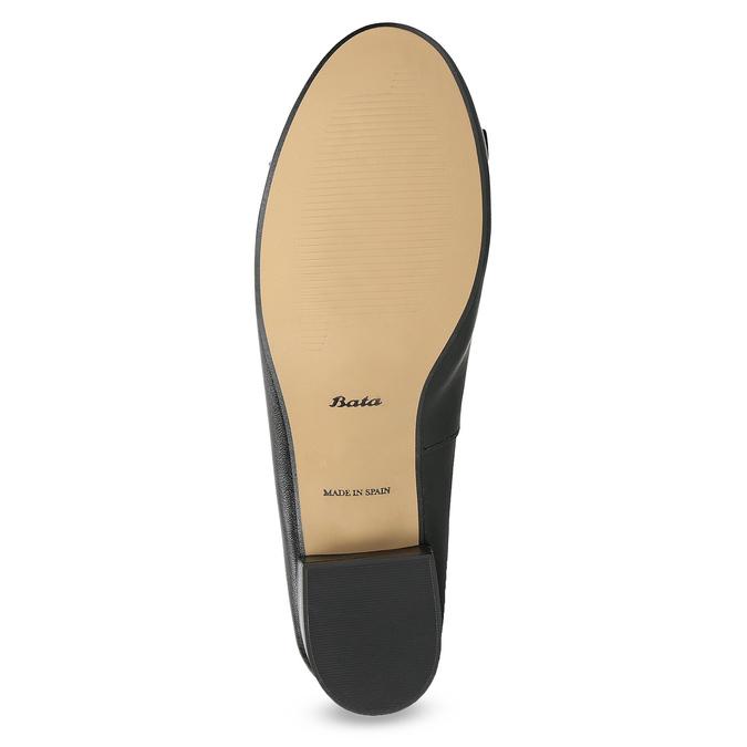 Čierne kožené baleríny s mašľou bata, čierna, 524-6420 - 18