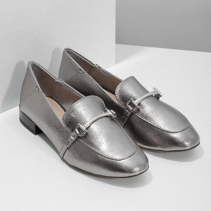 Strieborné mokasíny s prackou bata, strieborná, 511-1609 - 26