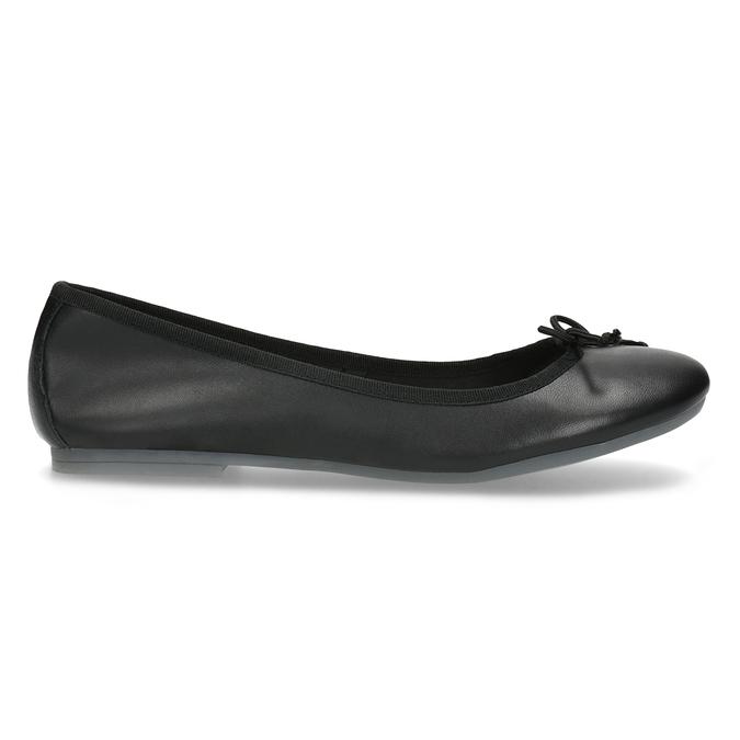 Kožené čierne baleríny s mašličkou bata, čierna, 524-6144 - 19