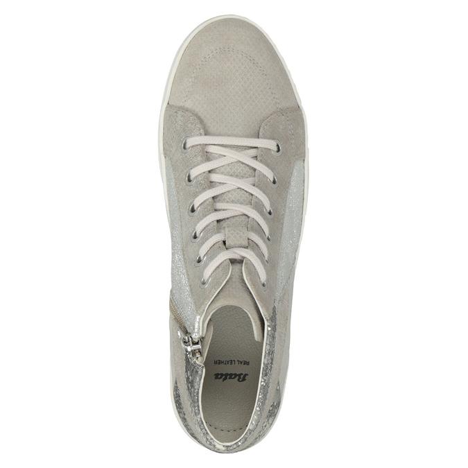 Členkové kožené tenisky bata, šedá, 546-2608 - 15