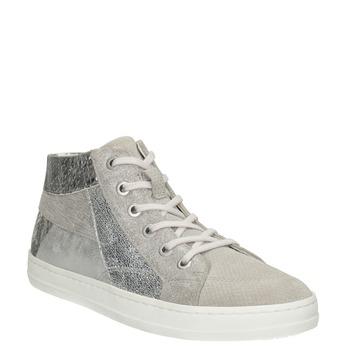Členkové kožené tenisky bata, šedá, 546-2608 - 13