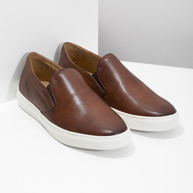 Pánska kožená Slip-on obuv bata, hnedá, 836-4601 - 26