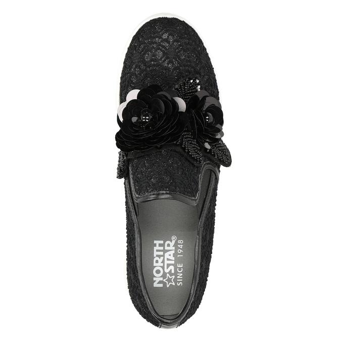 Čierne dámske Slip-on s ozdobou north-star, čierna, 539-6600 - 17