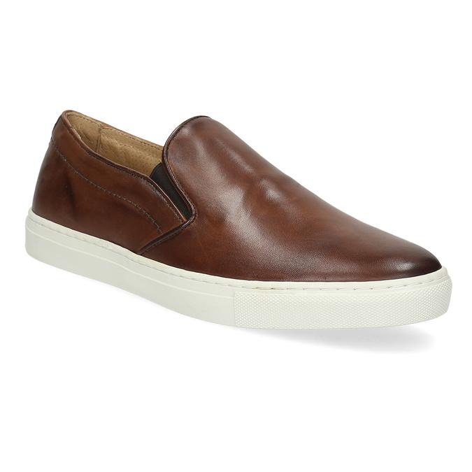 Pánska kožená Slip-on obuv bata, hnedá, 836-4601 - 13