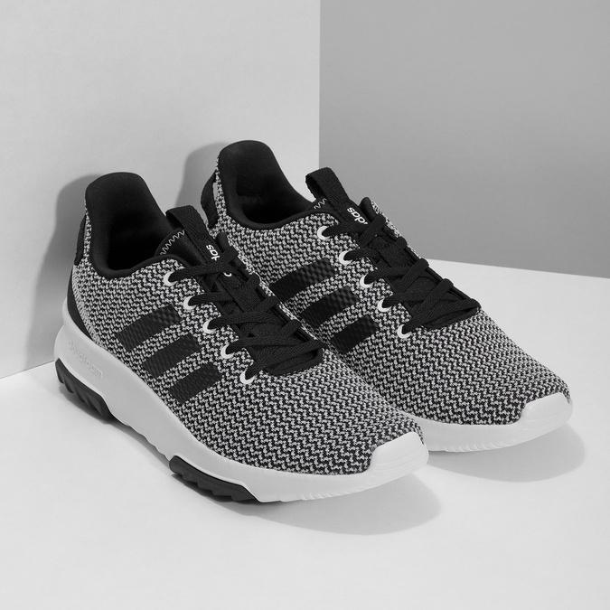 Čierno-biele tenisky s tkaným vzorom adidas, biela, 809-1101 - 26