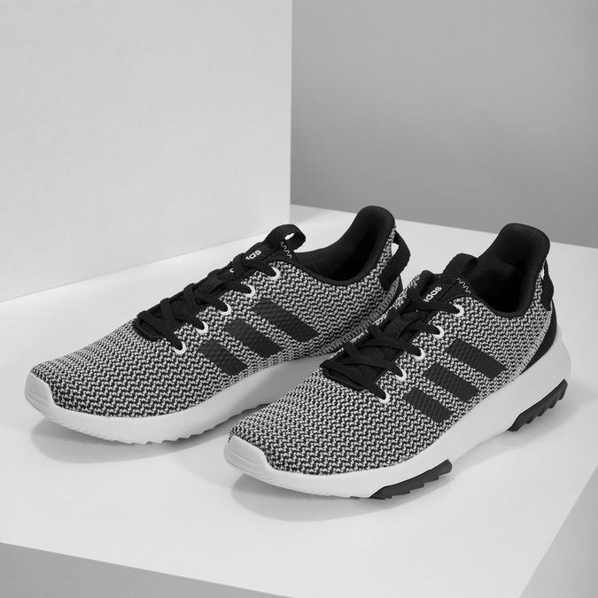 Čierno-biele tenisky s tkaným vzorom adidas, čierna, 809-1101 - 16