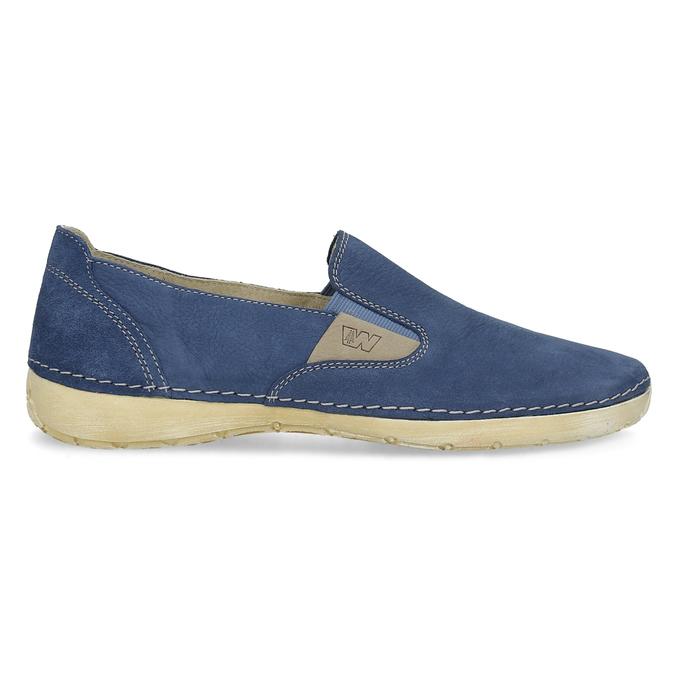 Dámske modré kožené Slip-on weinbrenner, modrá, 536-9606 - 19