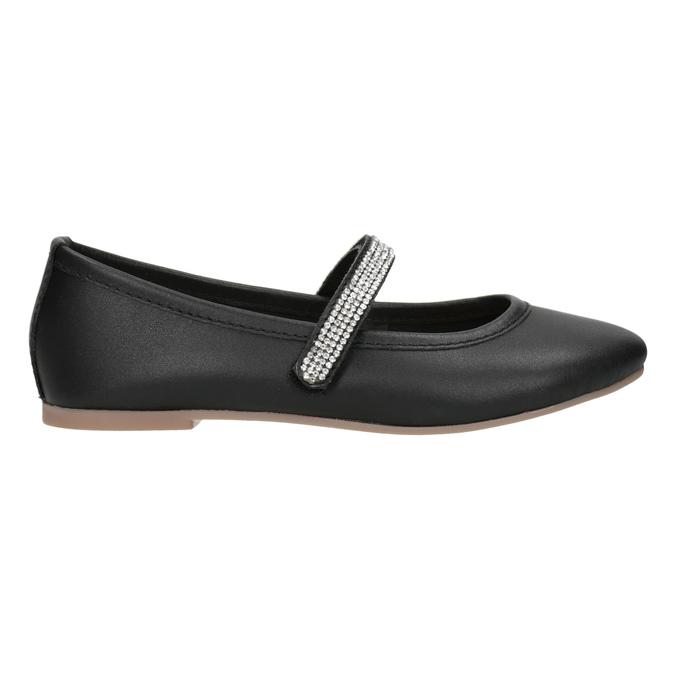 Čierne dievčenské kožené baleríny so štrasovým remienkom mini-b, čierna, 326-6601 - 26