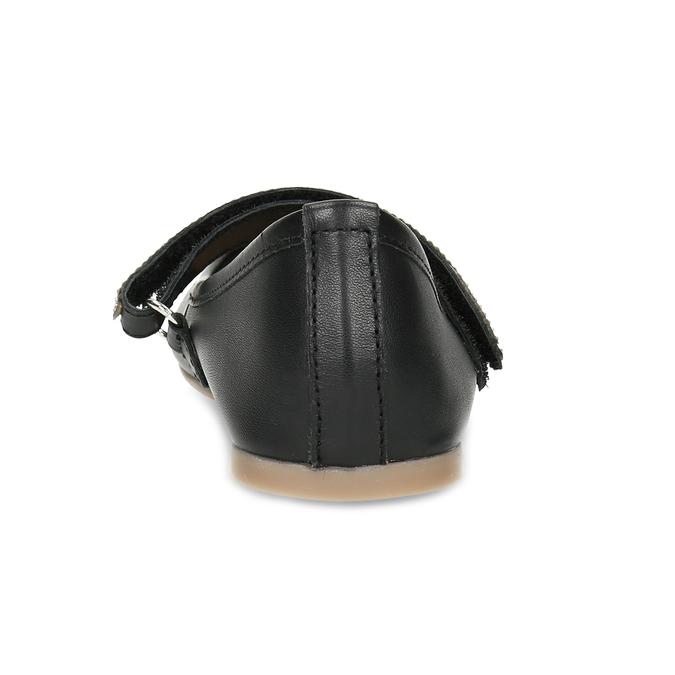 Čierne dievčenské kožené baleríny so štrasovým remienkom mini-b, čierna, 326-6601 - 15