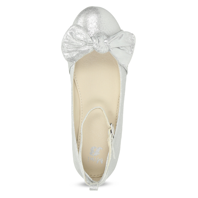 Strieborné dievčenské baleríny s mašľou mini-b, strieborná, 329-1227 - 17