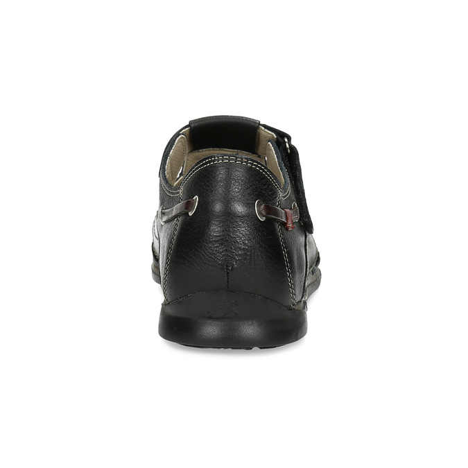 Kožené sandále s prešívaním fluchos, čierna, 864-6605 - 15