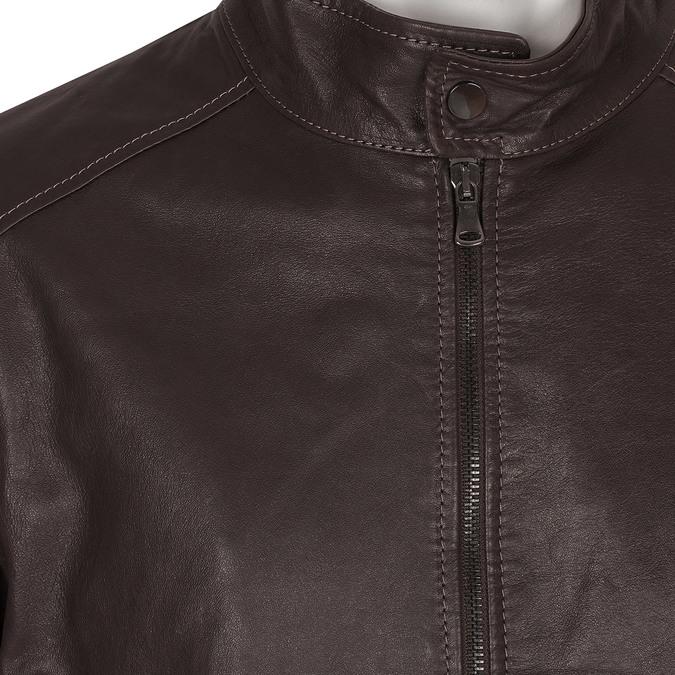 Kožená tmavohnedá pánska bunda bata, hnedá, 974-4134 - 16