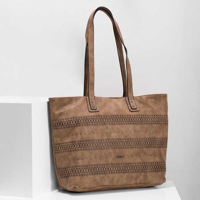 Shopper kabelka s perforovaným vzorom gabor-bags, hnedá, 961-3442 - 17