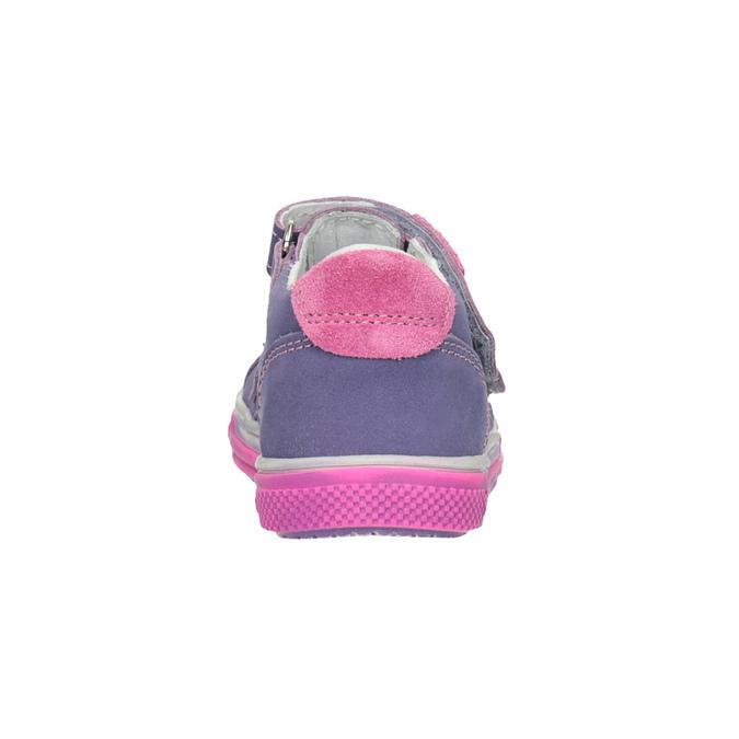 Detské kožené topánky na suchý zips bubblegummers, fialová, 126-9601 - 16