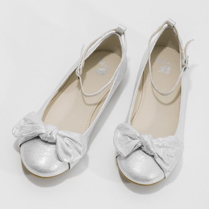 Strieborné dievčenské baleríny s mašľou mini-b, strieborná, 329-1227 - 16