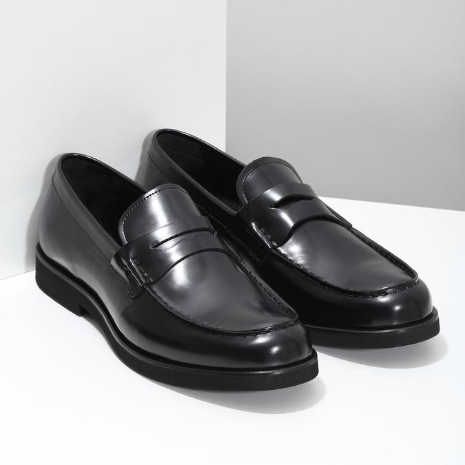 Čierne pánske kožené mokasíny bata, čierna, 814-6177 - 26