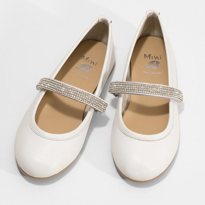 Biele dievčenské kožené baleríny so štrasovým remienkom mini-b, biela, 324-1272 - 16