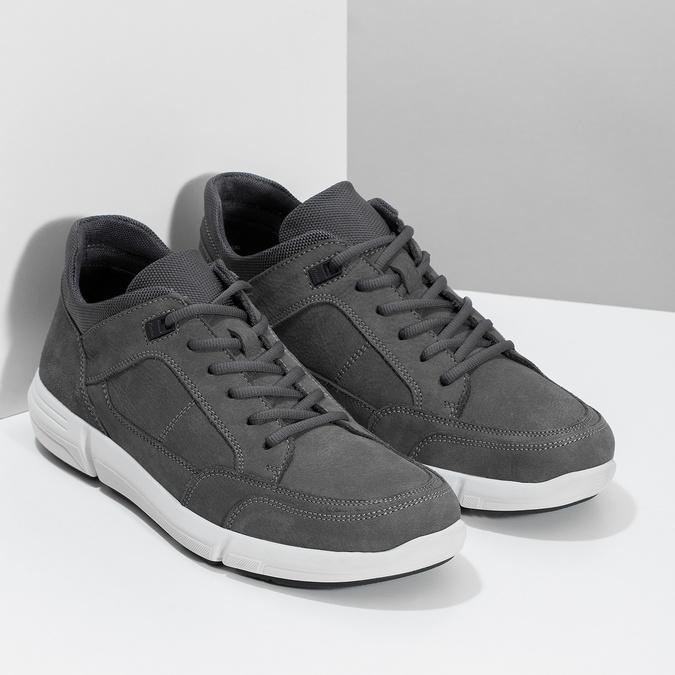 Kožené čierne pánske tenisky bata-light, šedá, 846-2712 - 26