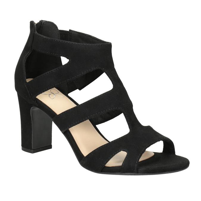 4cde0f882ba6 Insolia Čierne sandále na stabilnom podpätku - Sandále