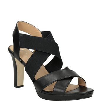 Čierne kožené sandále na podpätku s pružením insolia, čierna, 766-6606 - 13