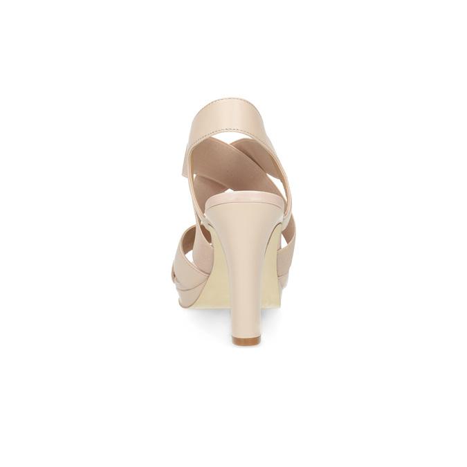 Béžové kožené sandále na stabilnom podpätku insolia, béžová, 766-8606 - 15