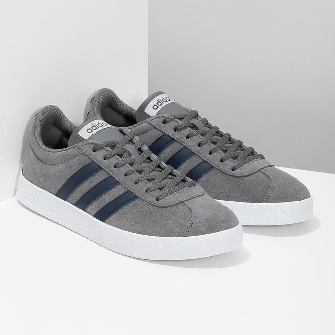 Pánske šedé tenisky z brúsenej kože adidas, šedá, 803-2379 - 26