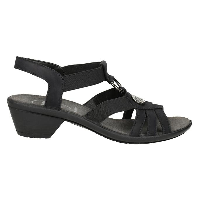 Čierne dámske kožené sandále comfit, čierna, 666-6619 - 16
