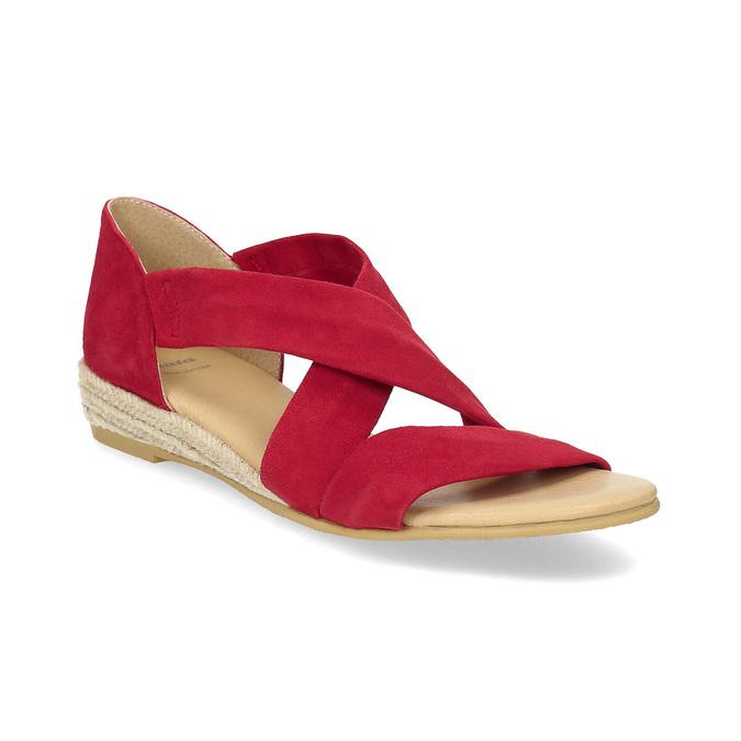 Červené kožené sandále na kline bata, červená, 563-5600 - 13