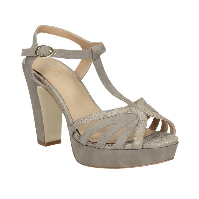5aa514fcbe7f Insolia Kožené dámske sandále na podpätku - Na podpätku