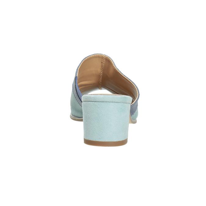 Kožené modré nazuváky na podpätku bata, modrá, 666-9625 - 15