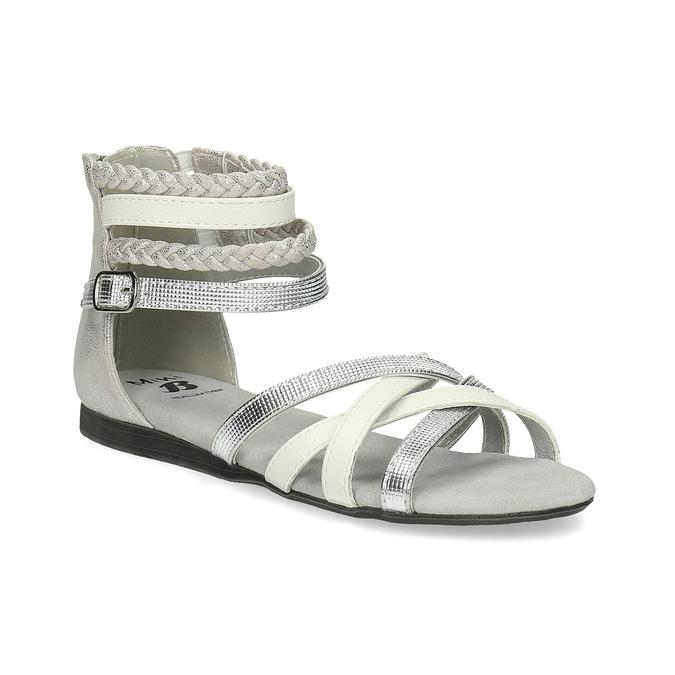 Bielo-strieborné dievčenské sandále mini-b, strieborná, 361-1605 - 13