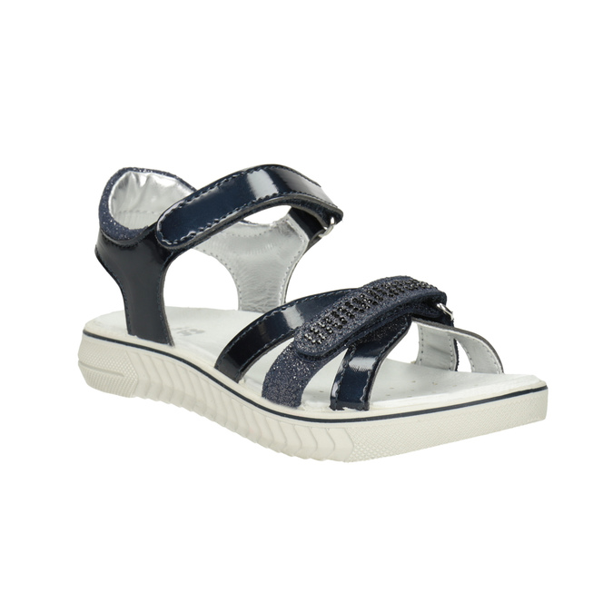 Modré dievčenské sandále s kamienkami mini-b, modrá, 361-9612 - 13