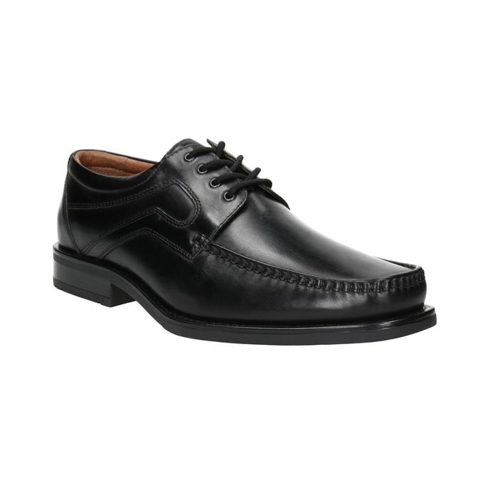 Pánske kožené poltopánky s prešitím na špici bata, čierna, 824-6625 - 13