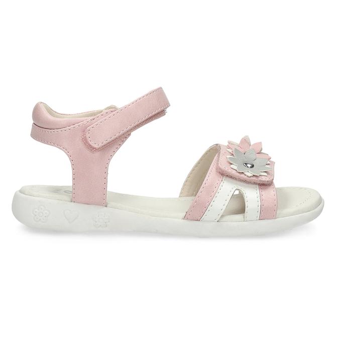 Ružovo-biele dievčenské sandále s kvetmi mini-b, ružová, 261-5615 - 19