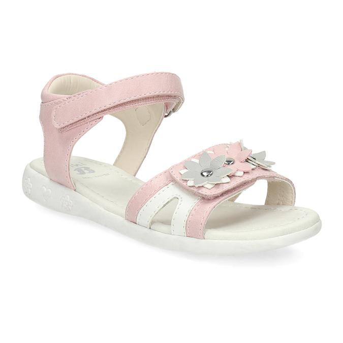 Ružovo-biele dievčenské sandále s kvetmi mini-b, ružová, 261-5615 - 13