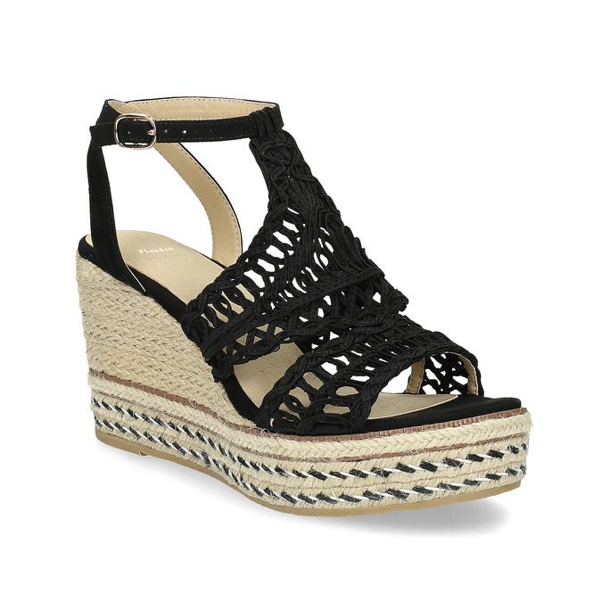 b68eba9da0a6c Bata Čierne prepletané sandále na platforme - Klinový podpätok | Baťa.sk
