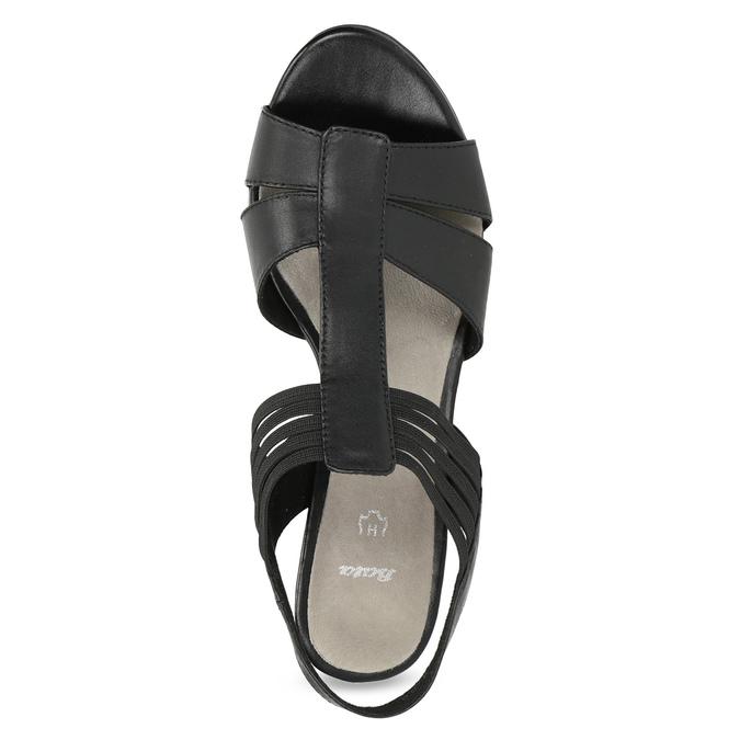 Kožené sandále na podpätku šírky H bata, čierna, 664-6610 - 17