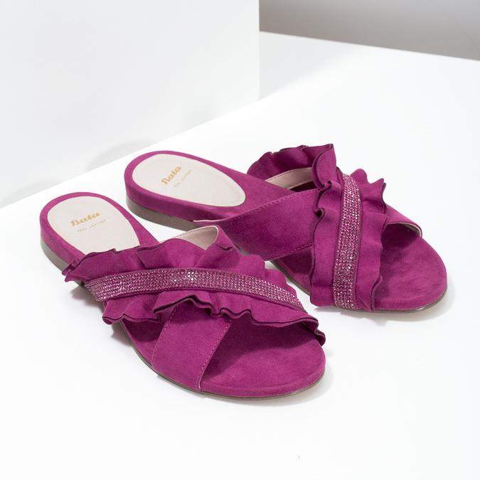 Dámske nazuváky s volánom a kamienkami bata, ružová, 569-5602 - 26