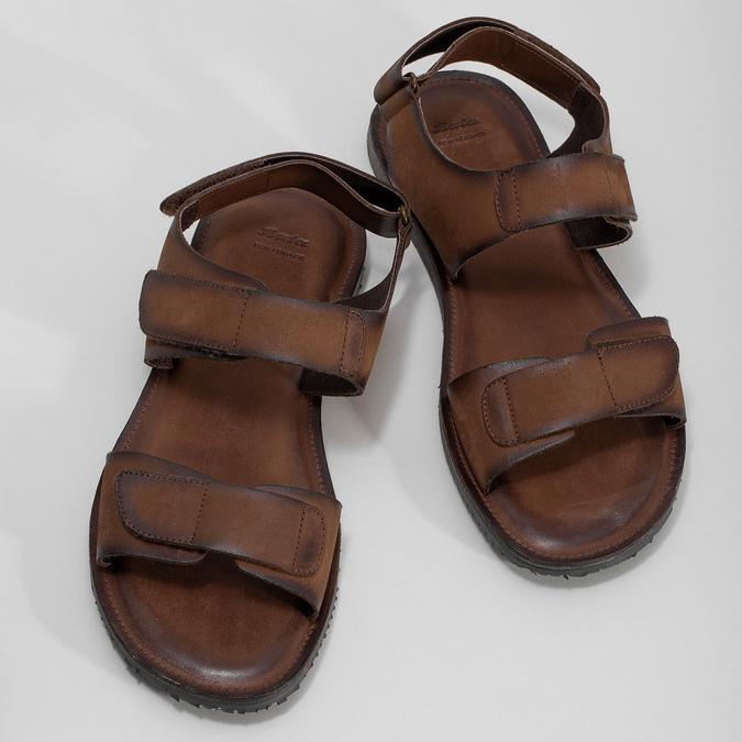 Pánske kožené hnedé Ombré sandále bata, hnedá, 866-4633 - 16