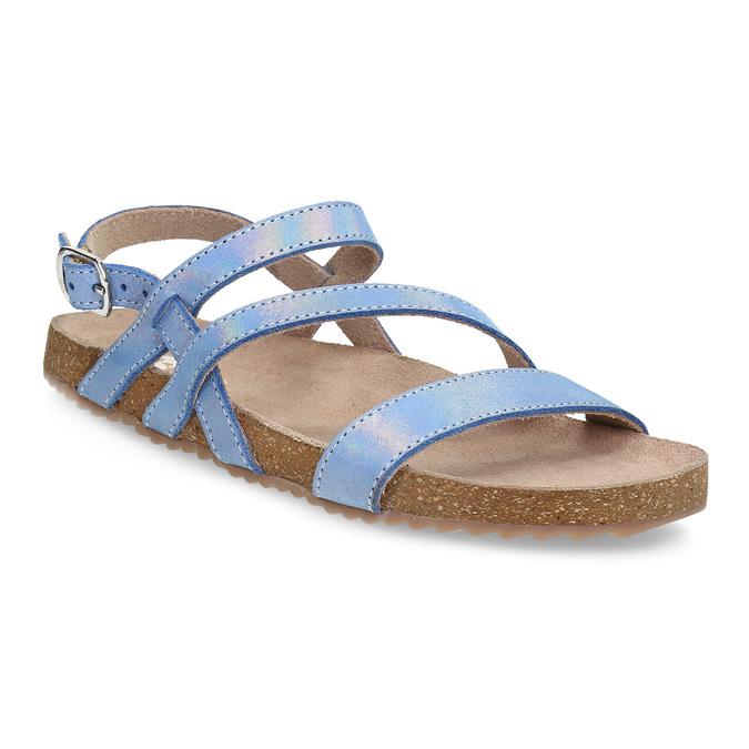 Dievčenské sandále s holografickými remienkami mini-b, modrá, 466-1609 - 13
