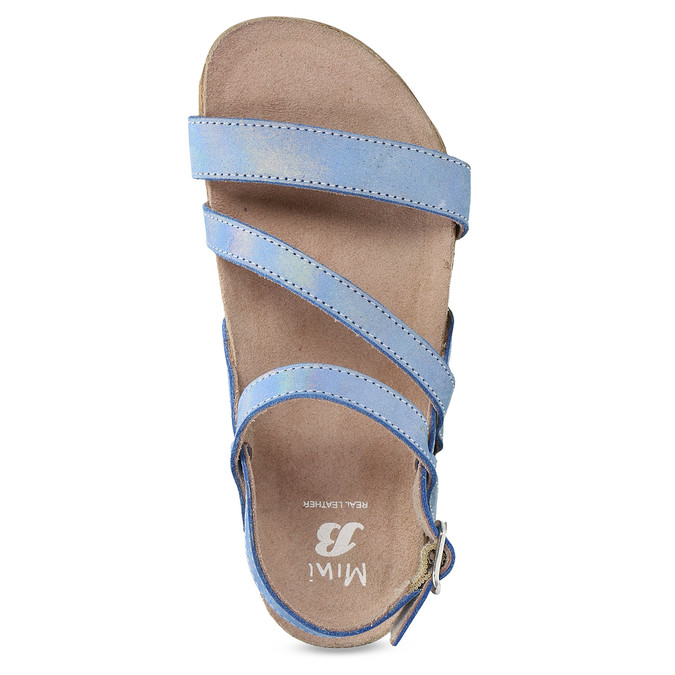 Dievčenské sandále s holografickými remienkami mini-b, modrá, 466-1609 - 17